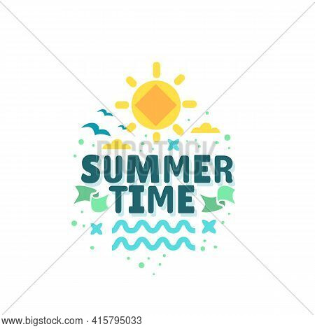 Summer Summertime Themed Illustration Typographic Design On A White Background.