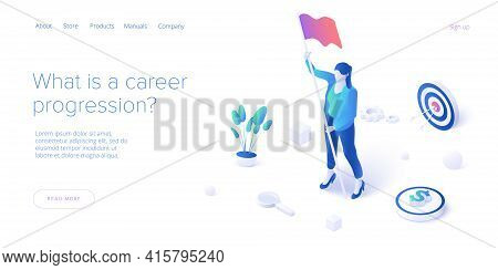 Career Growth With Young Woman Holding Goal Flag. Success Or Successful Job Development With Busines