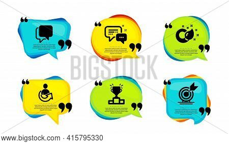 Share, Employees Messenger And Talk Bubble Icons Simple Set. Speech Bubble With Quotes. Paint Brush,