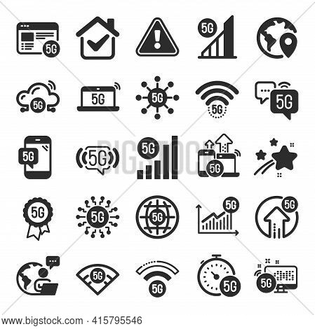 5g Technology Icons. Mobile Network, Fast Internet, Phone Connection. Hotspot Signal, Mobile Telecom