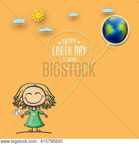 Cartoon Earth Day Illustration Or Banner With Little Cute Girl Character Holding In Hands Baloon Wit