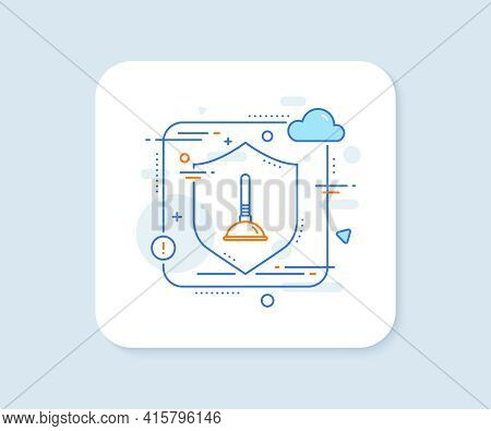 Cleaning Plunger Line Icon. Abstract Vector Button. Cleaning Of Pipe Clogs Symbol. Housekeeping Equi