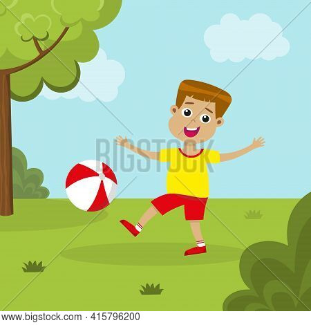 Cute Boy Playing With Ball Outside. Smiling Kid With Beachball Playing On A Green Lawn. Happy Childh