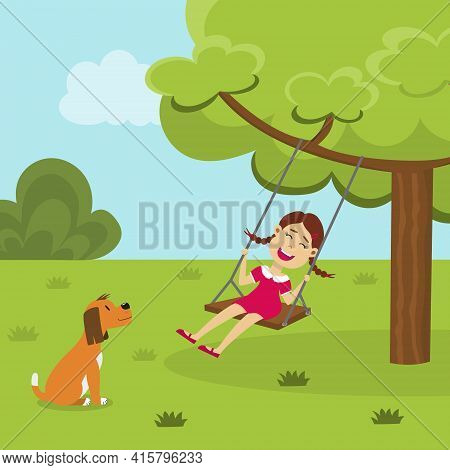 Cute Smiling Girl On A Tree Swing In The Park And A Dog Looking At Her. Happy Swinging Kid Playing O