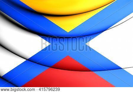 3d Flag Of Katwijk (south Holland), Netherlands. 3d Illustration.