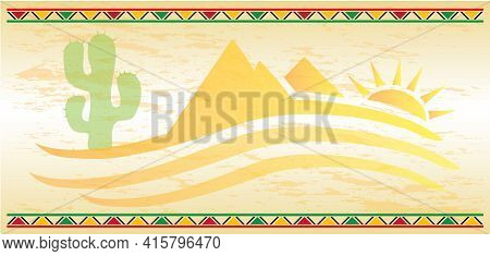 Desert Background Template With Cactus And Mountains