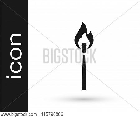 Black Burning Match With Fire Icon Isolated On White Background. Match With Fire. Matches Sign. Vect