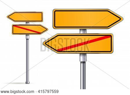 Blank Signs Pointing In Opposite Directions Vector Illustrarion
