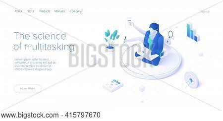 Multitasking Female Manager Concept In Isometric Vector Illustration. Workload Female Businesswoman