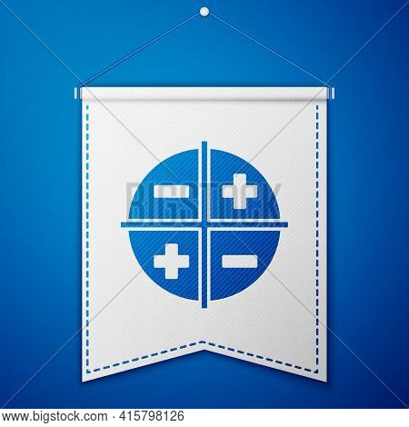 Blue Xyz Coordinate System Icon Isolated On Blue Background. Xyz Axis For Graph Statistics Display.