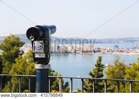 Sightseeing Tourist Coin Operated Telescope At Watching Point With Scenic View At The Port Of Ancona
