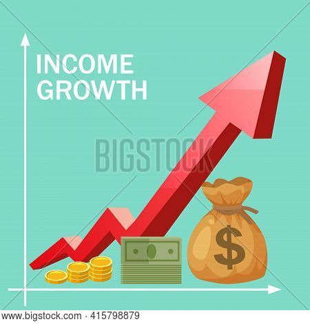Increase Income Financial Revenue, Income Growth Money Rate Rising Up. Arrow Up, Money Coins Gold Ba