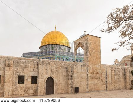 The Dome Of Yusuf Built By Salah Ad-din At The End Of The 12th Century And The Dome Of The Rock Mosq