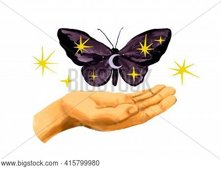 Hand Holding Mystical Night Butterfly With Moon, Stars. Meditation Manifesting Ritual With Cosmos Sp