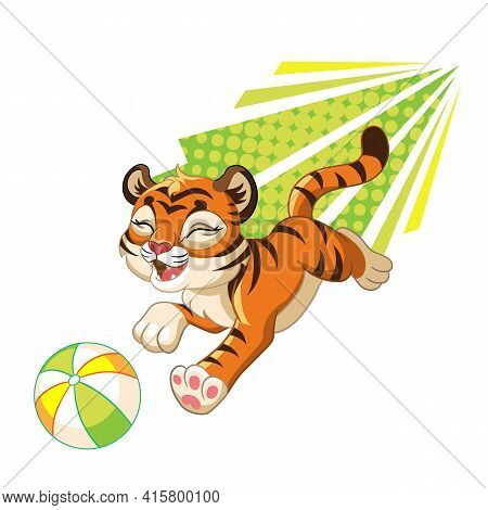 Jumping Tiger With Ball. Cartoon Character. Vector Isolated Colorful Illustration. For Print And Des