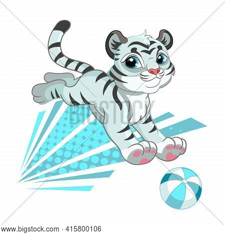 Cute White Tiger With Ball. Cartoon Character. Vector Isolated Colorful Illustration. For Print And