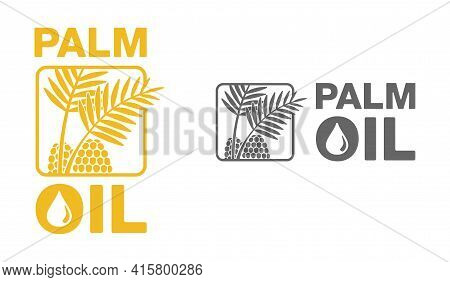 Palm Oil Flat Square Pictogram - Palm Branch And Seeds - Marking For Unavailability Of Harmful Food