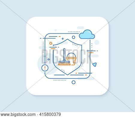 Cleaning Bucket With Mop Line Icon. Abstract Vector Button. Washing Housekeeping Equipment Sign. Buc