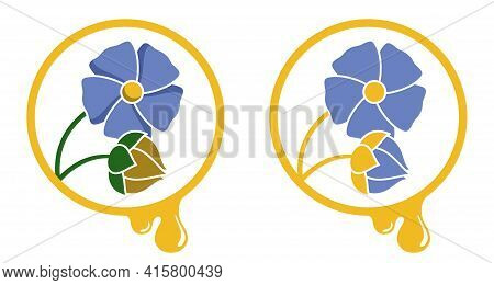 Linseed Oil Icon With Flower, Seeds And Drop - In Colourful And Two-colors Decoration. Vector Isolat
