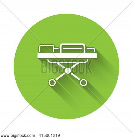 White Stretcher Icon Isolated With Long Shadow. Patient Hospital Medical Stretcher. Green Circle But