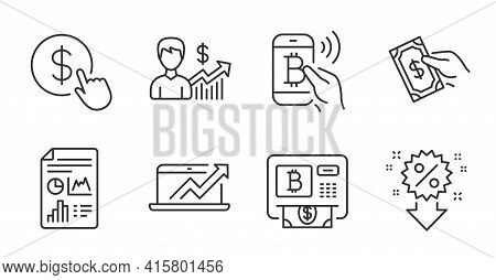 Business Growth, Discount And Report Document Line Icons Set. Bitcoin Pay, Sales Diagram And Bitcoin