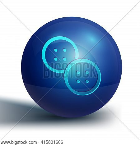 Blue Sewing Button For Clothes Icon Isolated On White Background. Clothing Button. Blue Circle Butto