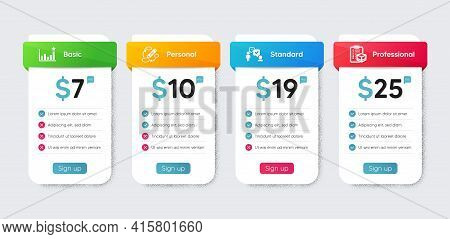Business Icons Set. Price Table Chart, Business Plan Template. Included Icon As Consulting Business,