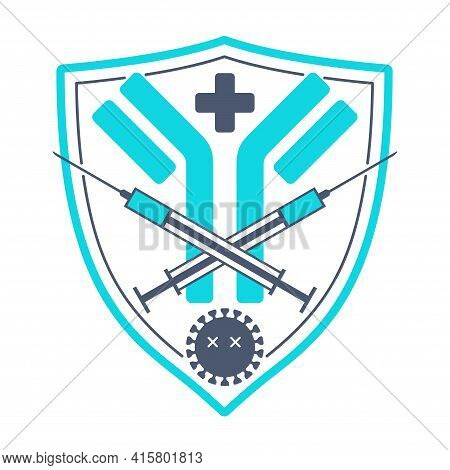Covid-19 Vaccination Emblem Or Logo Template - Antibody Icon, Dead Virus, Crossed Syringes In Shield