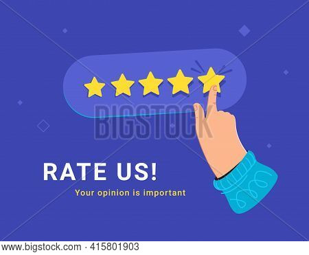 Customer Review And User Rating Five Stars. Flat Vector Illustratiion Of Human Hand Choosing Five Ye