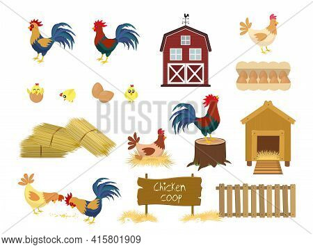 Chicken Coop Set. Chickens Farm Birds Isolated Set Walking With Baby Chickens