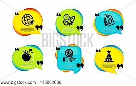 Bio Tags, Leaves And Apple Icons Simple Set. Speech Bubble With Quotes. World Weather, Safe Planet A