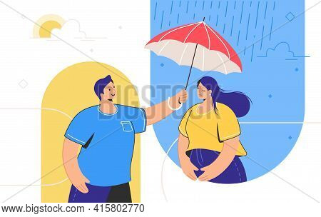 Friendly Support And Mental Aid For Distance Relationships. Young Man Holding Red Umbrella And Helpi