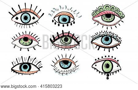 Evil Seeing Eye Symbol Set. Boho Eyes Set In Linear Style. Mystic Evil Eye. Collection Of Evil, Ra,