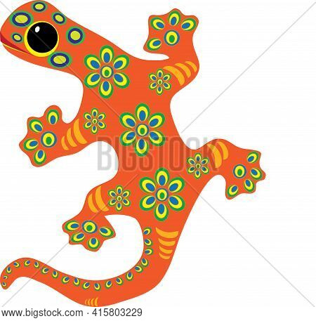 Colorful Decorative Lizard Gecko Bright Colors With Stripes And Flowers