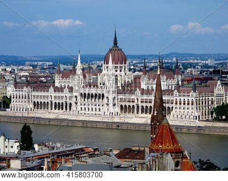 The Parliament Vintage Building In Budapest, Hungary