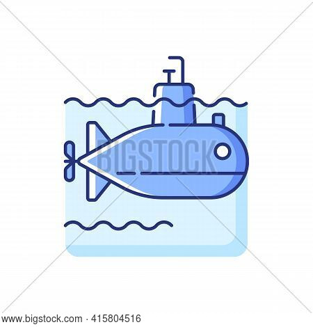 Submarine Rgb Color Icon. Watercraft Capable Of Independent Operation Underwater. Special Underwater