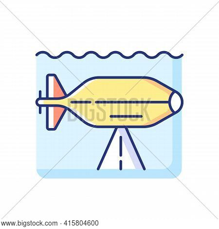 Auv Rgb Color Icon. Autonomous Underwater Vehicle Is Robot That Travels Underwater Without Requiring