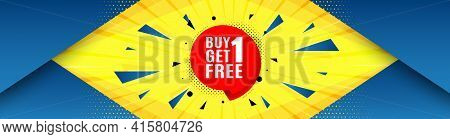 Buy 1 Get 1 Free Sticker. Abstract Background With Offer Message. Discount Banner Tag. Coupon Icon.