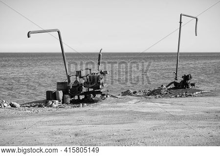 On The Shore There Are Two Pump Pumps For Pumping Sea Water On The Coast Of The Red Sea