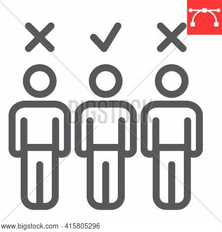 Candidate Line Icon, Job And Recruit, Choosing The Right Candidate Vector Icon, Vector Graphics, Edi