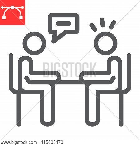 Interview Line Icon, Discussion And Two People Talking, Recruitment Interview Vector Icon, Vector Gr