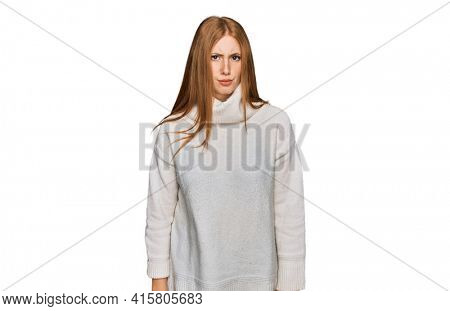 Young irish woman wearing casual winter sweater skeptic and nervous, frowning upset because of problem. negative person.