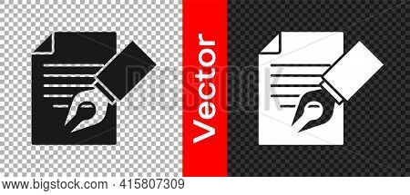 Black Exam Sheet And Pencil With Eraser Icon Isolated On Transparent Background. Test Paper, Exam, O