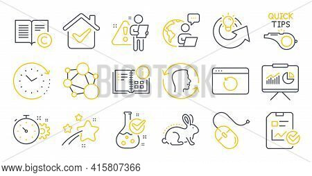 Set Of Science Icons, Such As Integrity, Time Change, Instruction Info Symbols. Computer Mouse, Copy