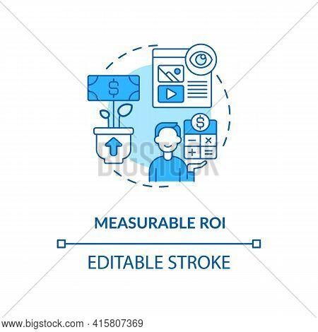 Measurable Roi Blue Concept Icon. Digital Marketing Strategy. Online Pr Campaign Benefit. Smart Cont