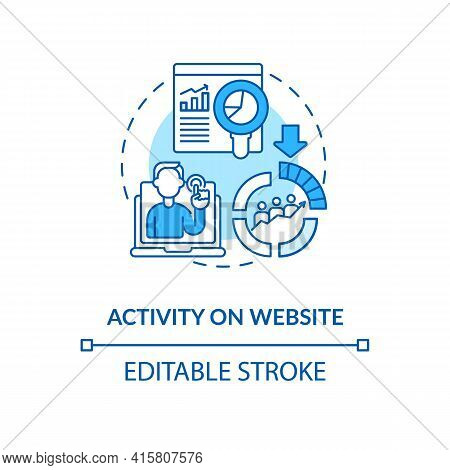 Activity On Website Blue Concept Icon. Internet Metrics For Business Consumers. Online Marketing. Sm