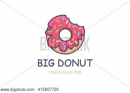 Bitten Glazed Donut Logo Isolated Vector Template