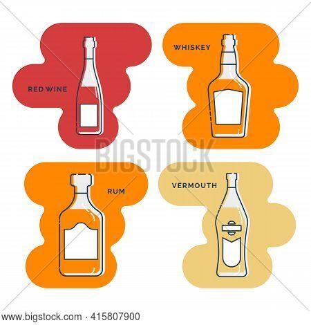 Bottle Red Wine Whiskey Rum Vermouth Line Art In Flat Style. Restaurant Alcoholic Illustration For C