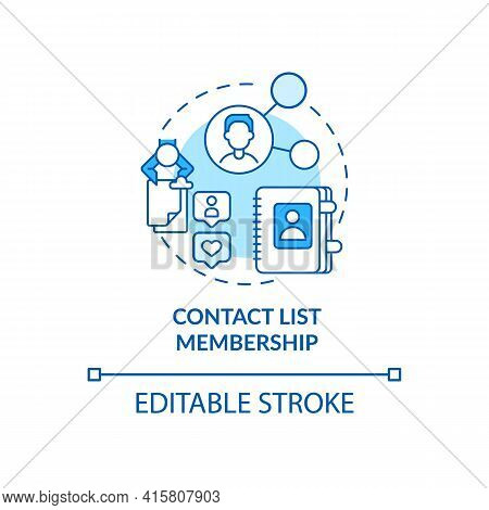 Contact List Membership Blue Concept Icon. Potential Customer Information For Business. Smart Conten