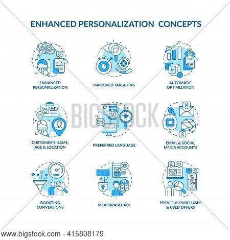 Smart Content Blue Concept Icons Set. Customer Name, Age And Location. Measurable Roi. Digital Marke
